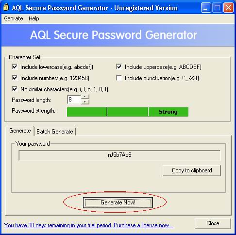 AQL Secure Password Generator screen shot
